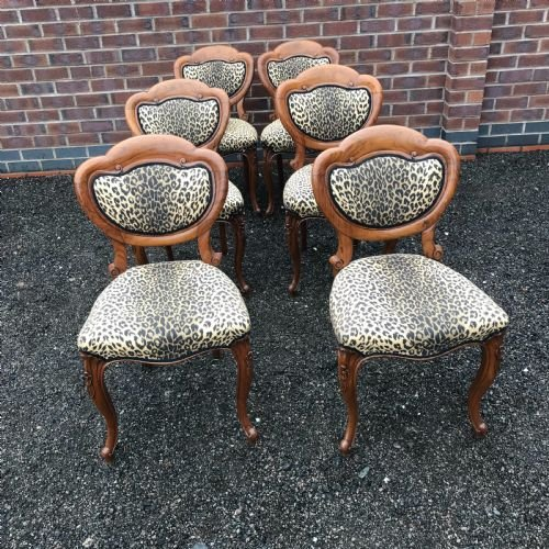 Stunning quality set of six solid walnut dining chairs