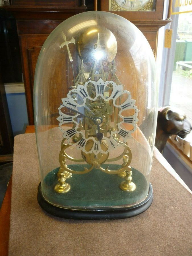 Antique Victorian 8 Day Brass Fusee Skeleton Clock Under Glass Dome Working