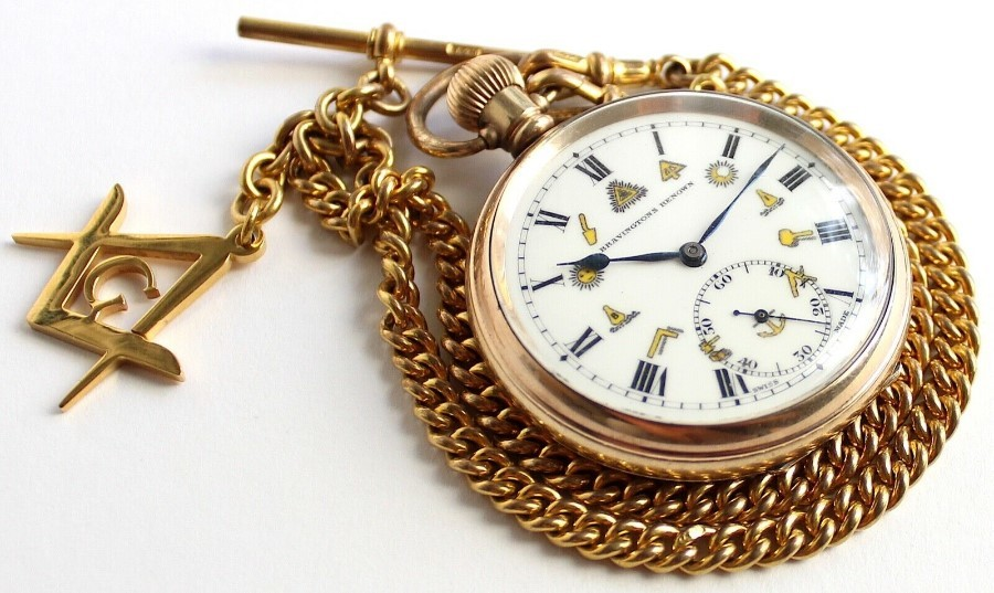 Antique - Masonic - Pocket Watch & Albert Chain - Vintage - Gold Plated - Swiss