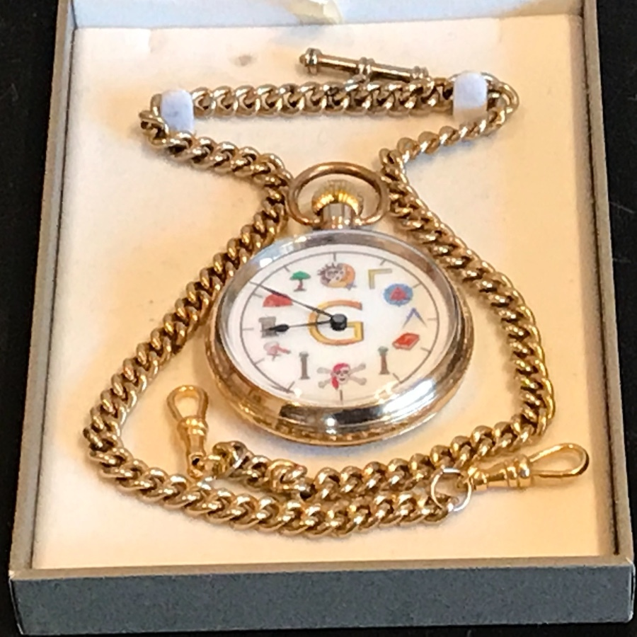 Antique - Masonic - Pocket Watch & chain - Swiss Made - Gold Plated - Vintage