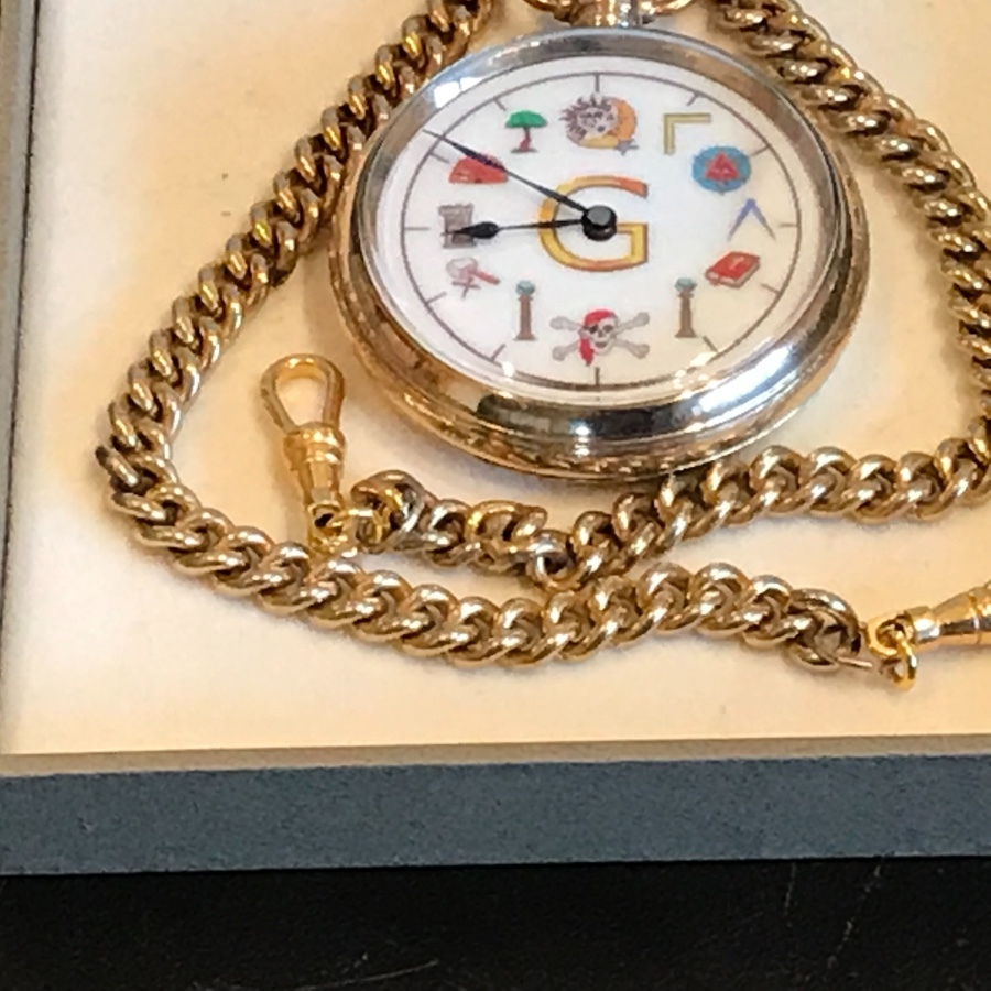 Antique Antique - Masonic - Pocket Watch & chain - Swiss Made - Gold Plated - Vintage
