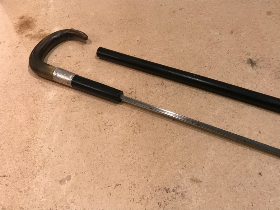Antique Gentleman's walking stick sword stick with silver mount and horn crook handle