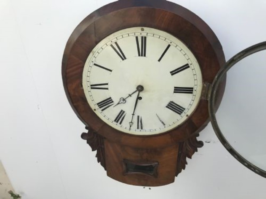 Antique Victorian Drop Dial mahogany cased fusee Untouched