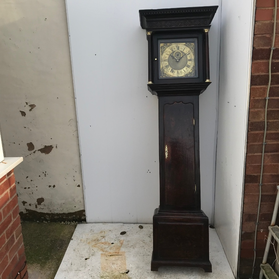 Georgian Coventry oak cased grandfather 30 hours clock with brass face