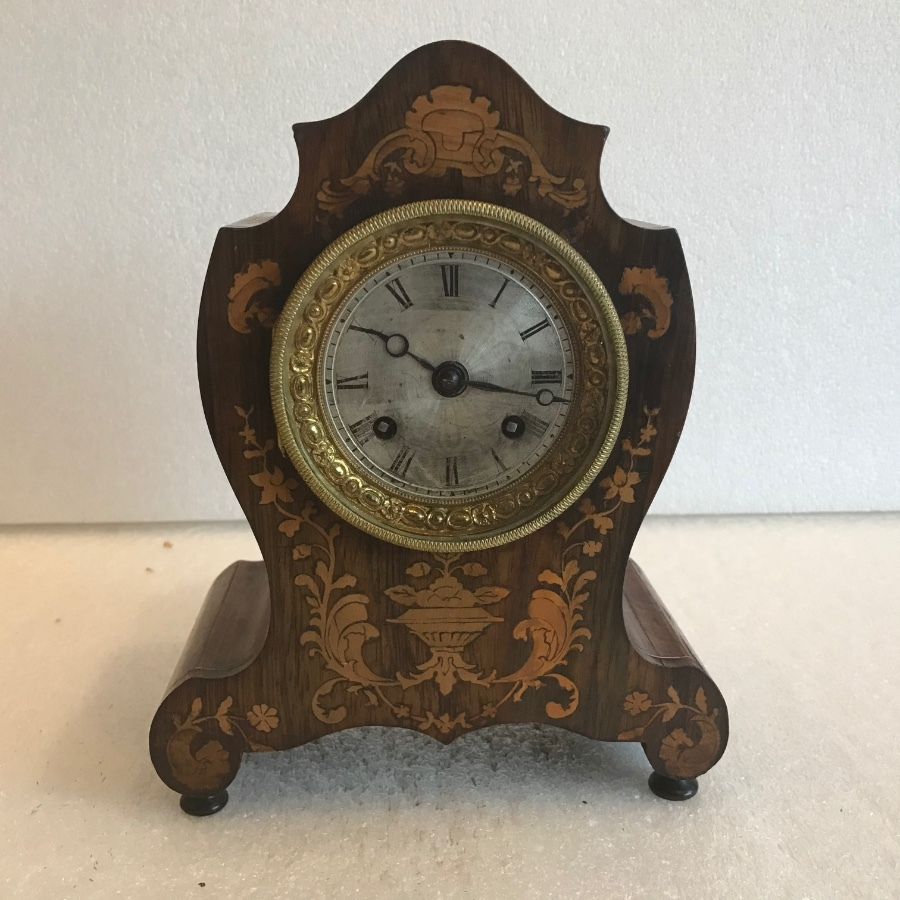 French rosewood with inlays clock by DuPont of Paris