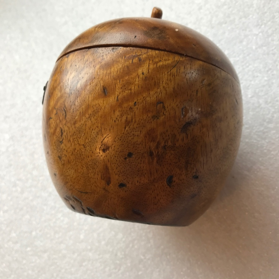 Antique Tea caddy in shape of apple rare item and comes with key