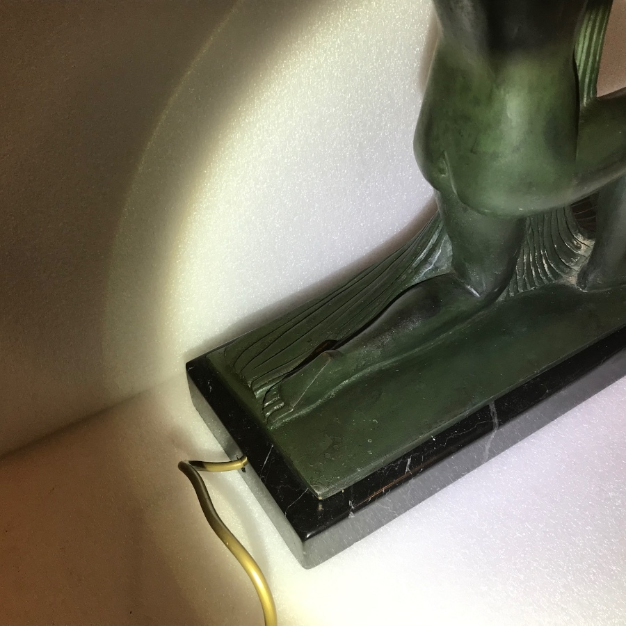 Antique Art Deco bronze and marble lamp