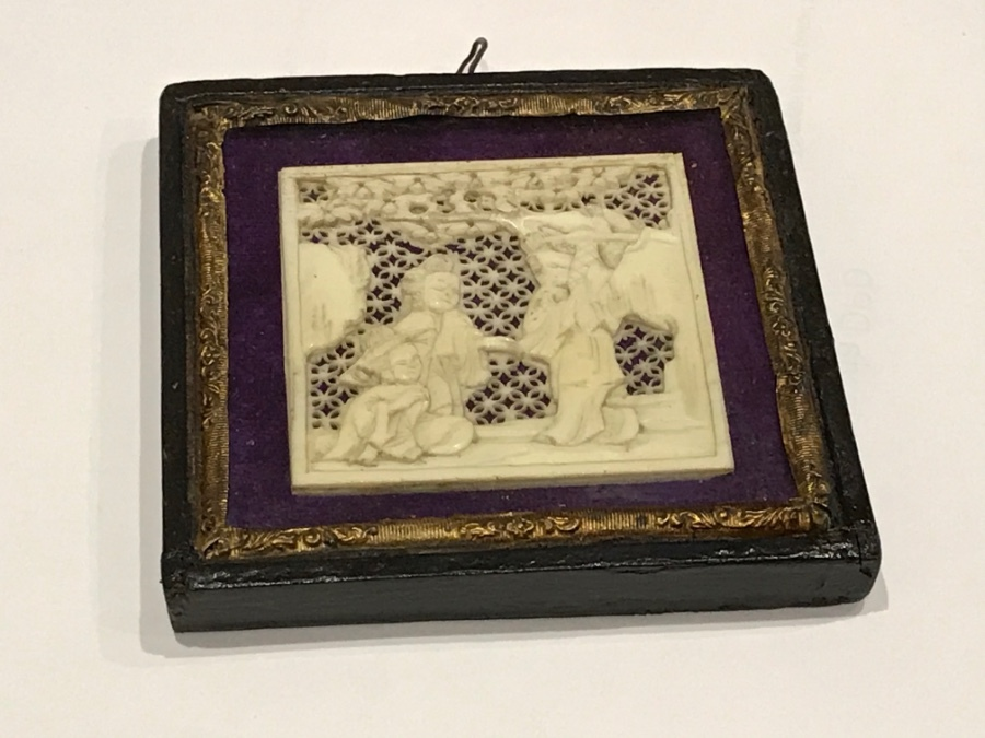 Victorian Japanese carving in ivory nicely framed