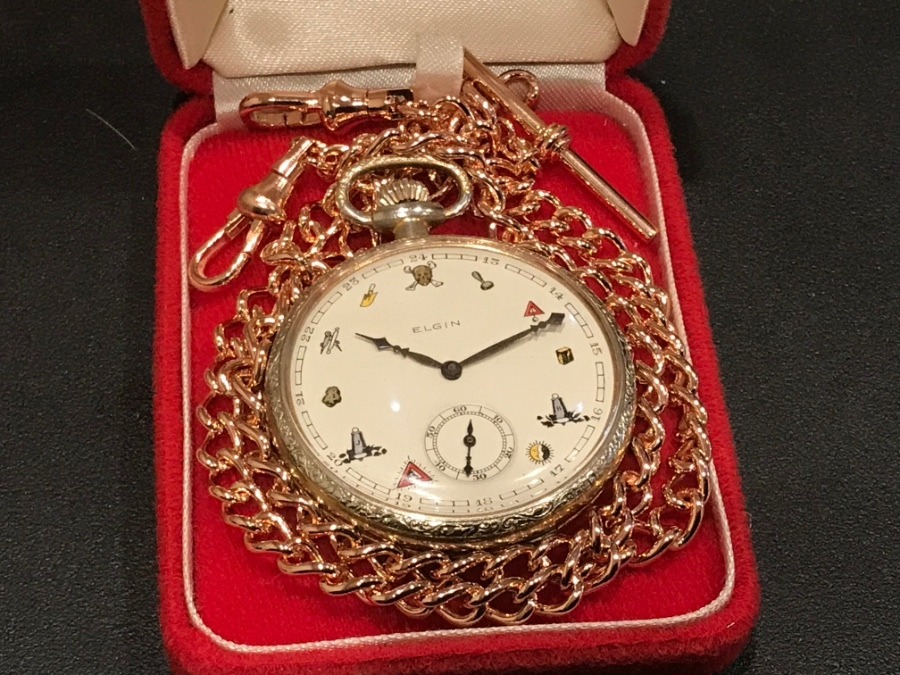 Elgin Masonic pocket watch and chain