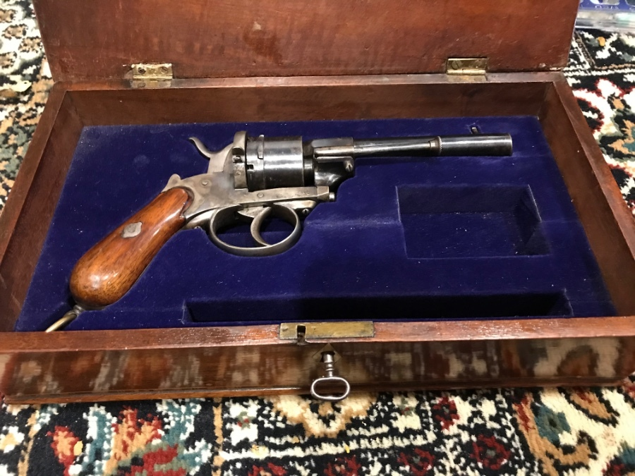 Boxed Pin fire revolver