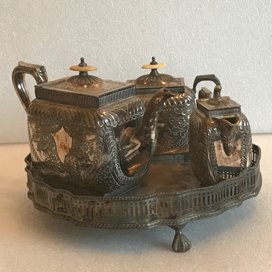 Tea service with tray in silver plate
