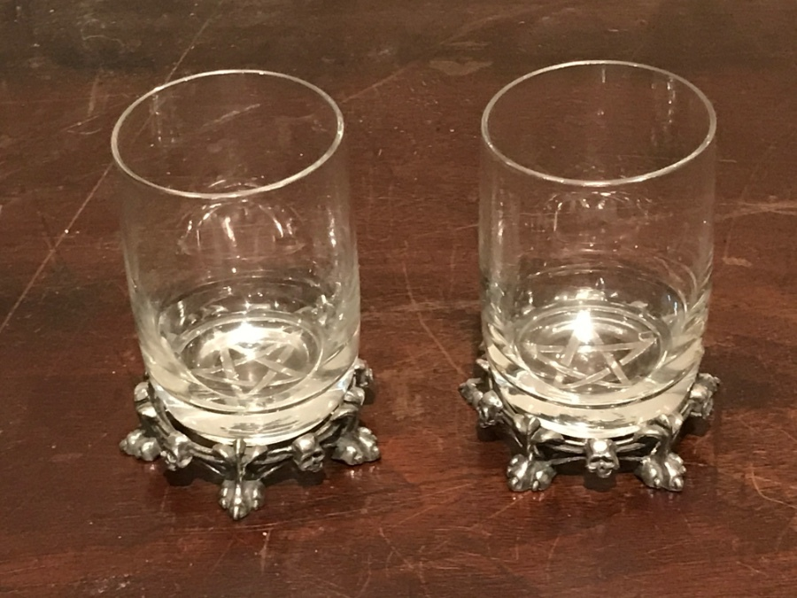 Masonic ceremonials toast glasses & silver stands by Asprey of London