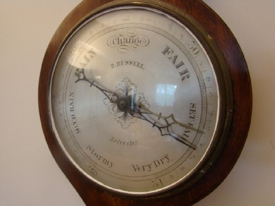 Antique BAROMETER VICTORIAN MAHOGANY CASE RUSSEL OF LEICESTER