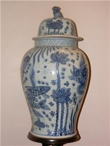 CHINESE BLUE & WHITE VASE FANTASTIC EARLY LARGE ITEM