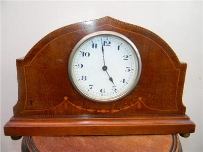 Antique ART NOUVEAU MANTLE CLOCK MAHOGANY INLAID CASE
