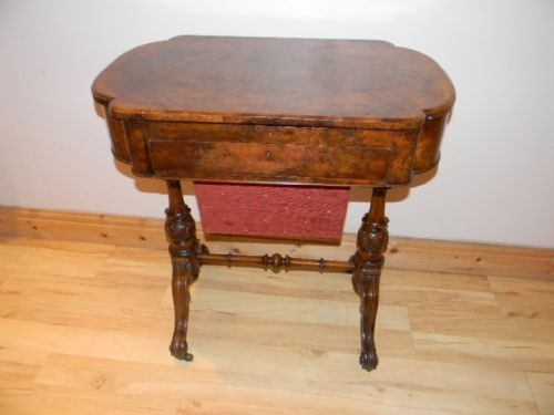 TABLE WRITING SEWING BURR WALNUT LADIES