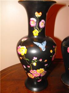 Antique VASES PAIR VICTORIAN ROYAL SYDNEY WARE HAND PAINTED