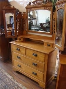 DRESSING TABLE IN SATINWOOD TOP QUALITY TRIPLE MIRRORED