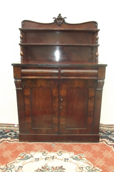 Chiffonear mahogany 2 door with draws superb back with shelves