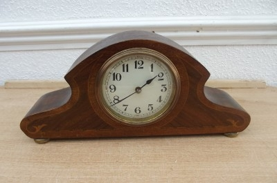 CLOCK MANTLE ART DECO MAHOGANY INLAID MECHANICAL MOVEMENT SUPERB WORKING ORDER