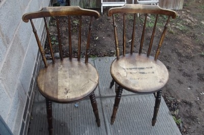 KITCHEN CHAIRS STICK BACK VICTORIAN PAIR