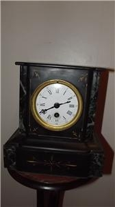 MANTLE CLOCK VICTORIAN SLATE DECORATE CASED