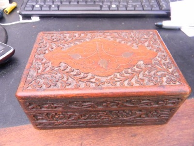 Trinket box carved mahogany with brass inlays Stunning quality item.-B2