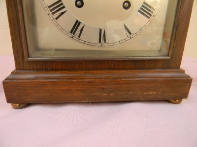 Antique Bracket clock Edwardian oak case German movement superb working condition.