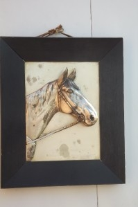 Horse head work in oak frame 1920's quality rare item from Germany