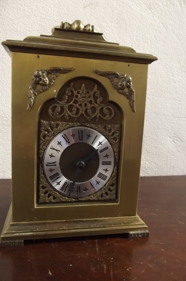 Bracket clock by Rotherhams of Coventry Brass & glass sided superior timepiece.