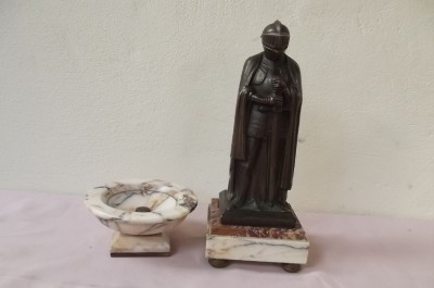 Knight in armour on marble base with matching marble dish.