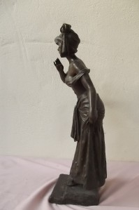 "Bronze figure of young woman by E villoni "" Fleur De Rohem """