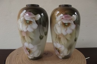 Vases hand painted matching pair German Poland pre 2ww items of qualiy -B3