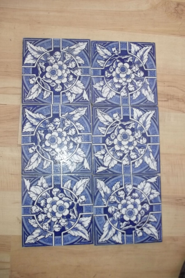 Tiles set of six Victorian matching blue Delf types-B6