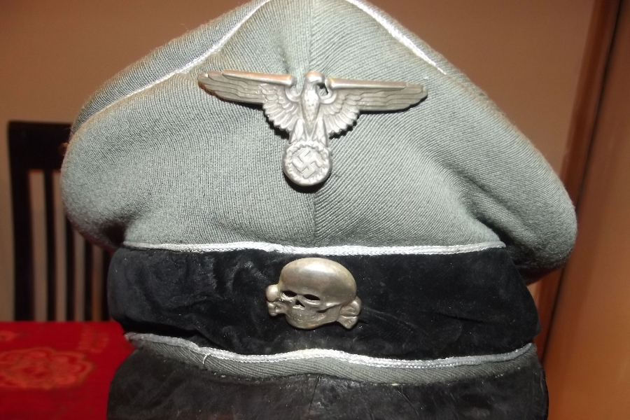 Antique SS  Officers cap with insignia Genuine 2ww item
