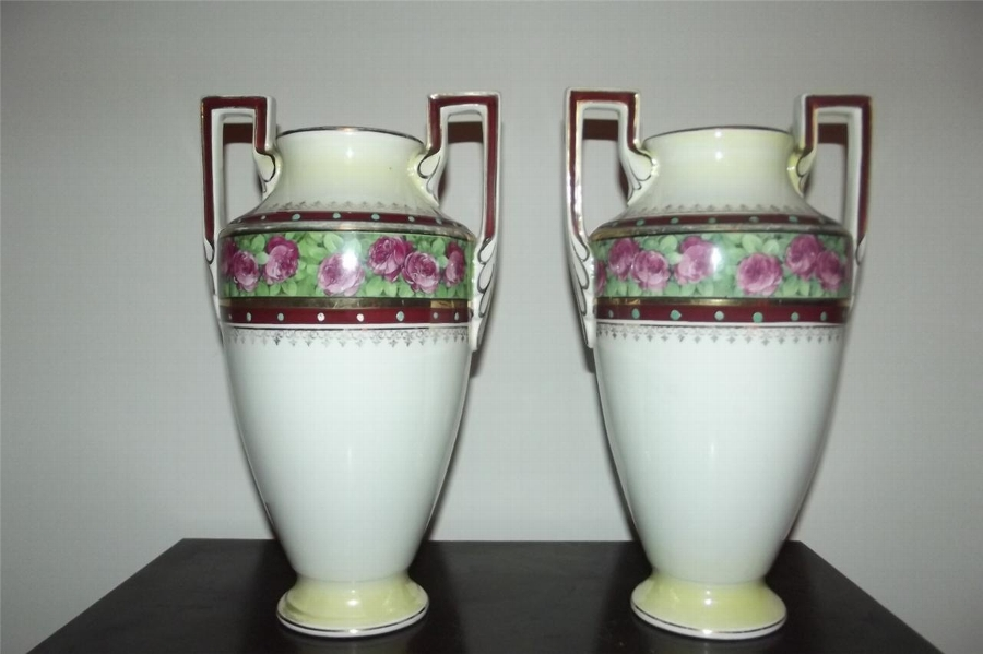 Vases matching pair classical by Boch La Louve Freres of Belgium  rare