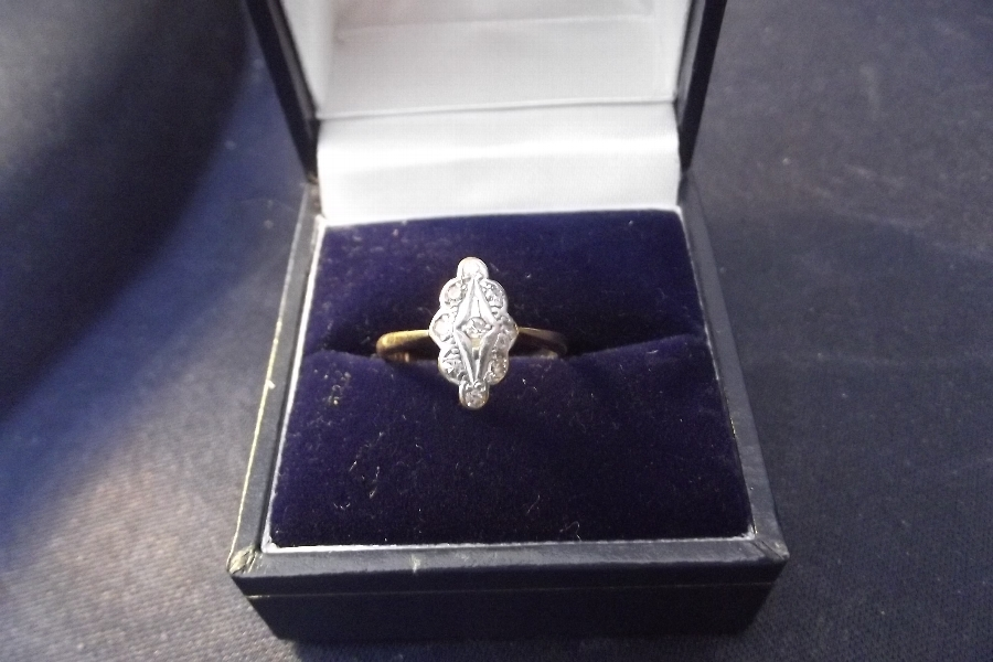 Gold 14ct diamonds and platinum ladies ring