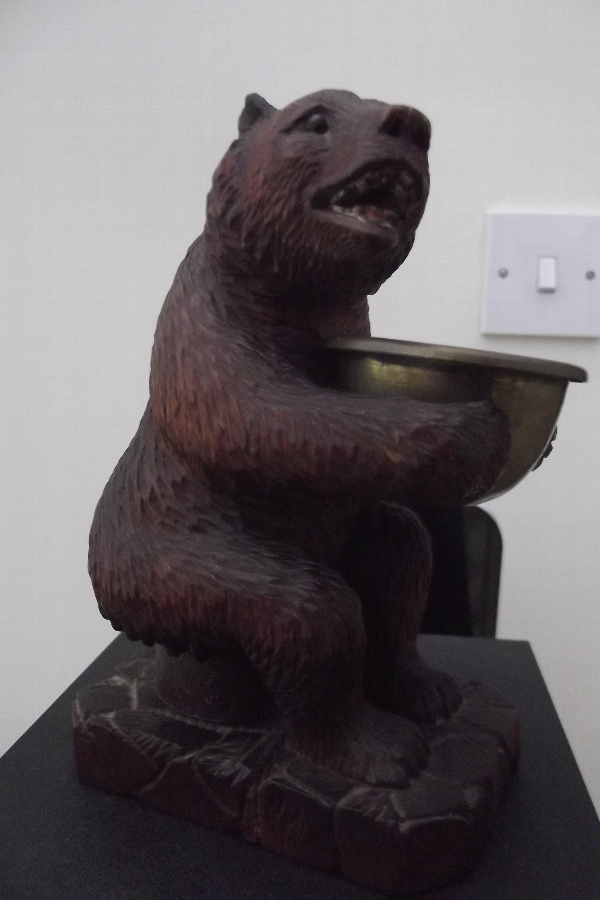 Grissly bear inkwell blackforest carved Victorian