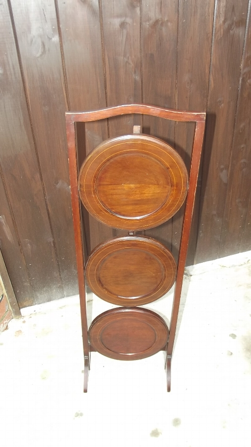 Cake stand 3 tier mahogany with inlays Edwardian superb condition item.