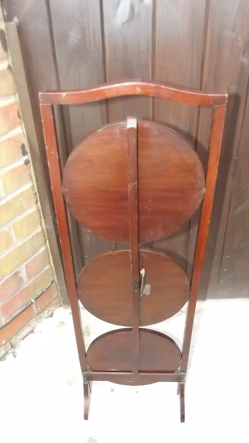 Antique Cake stand 3 tier mahogany with inlays Edwardian superb condition item.
