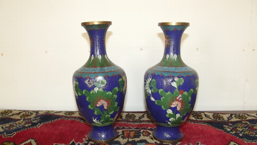 Chinese cloisonne vases Victorian
