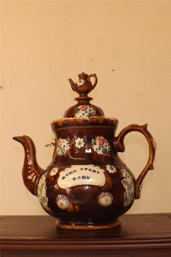 "Teapot large Victorian bargeware "" love thy neighbor "" inscribed"