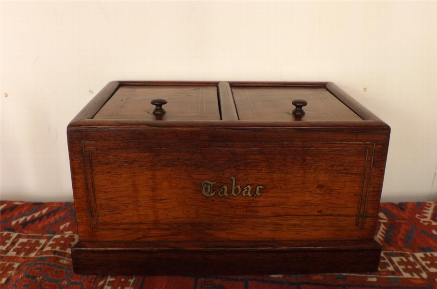 Box Humidor brass inlaid & marble lined consider Victorian.