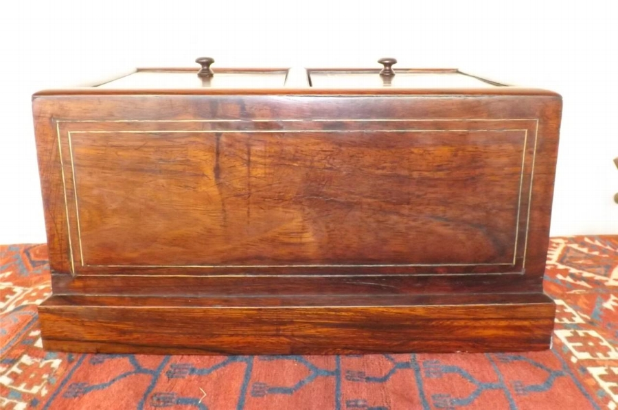 Antique Box Humidor brass inlaid & marble lined consider Victorian.