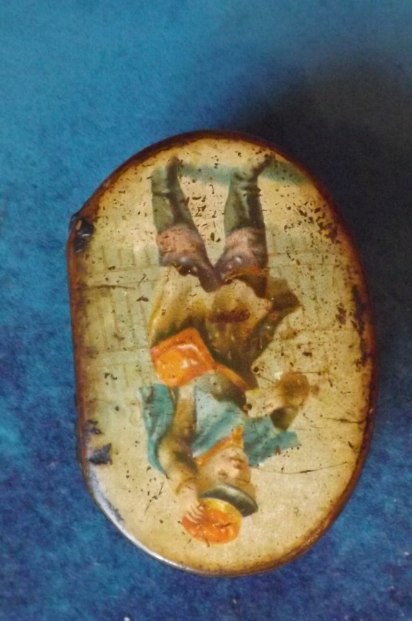 Antique Snuff box paper mache Georgian with hand painted scene.--SB