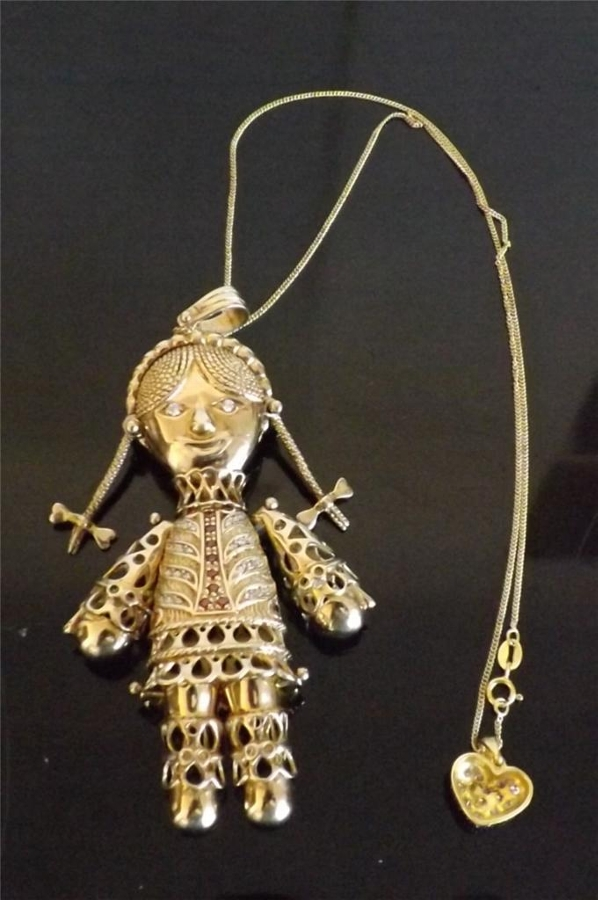 Beautiful rag doll pendant in solid silver gold plated all moving parts rare