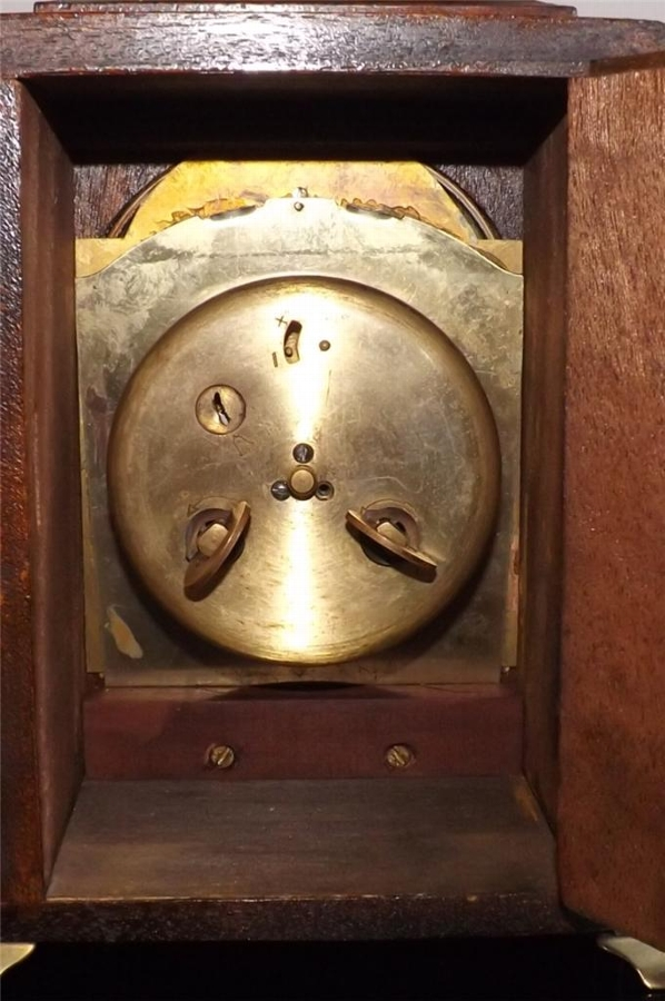 Antique Bracket clock mahogany case 8 day mechanical movement strikes the hours.--TS