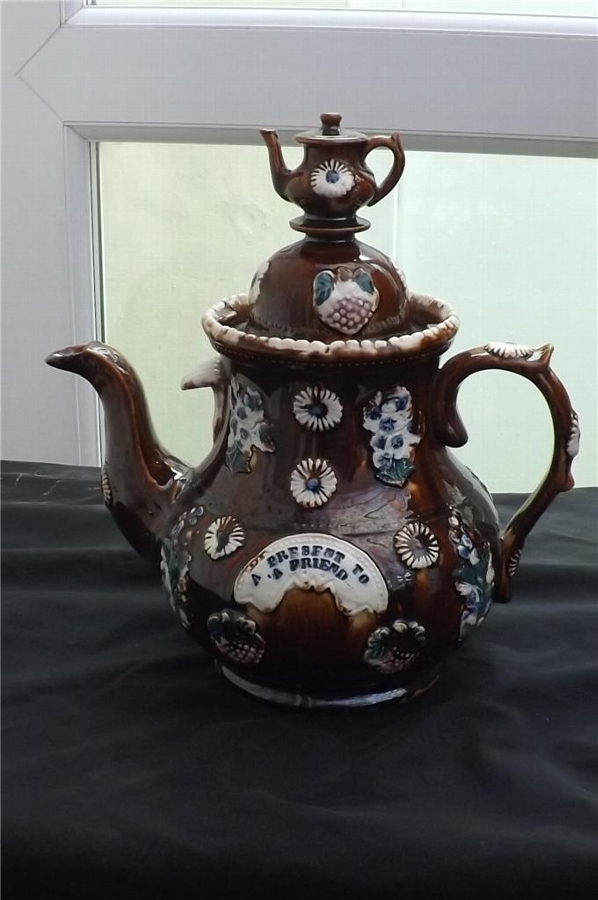 Measham ware bargee teapot circa 1890. Free worldwide post.