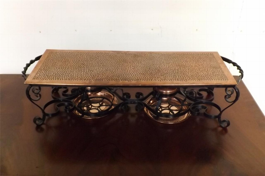 Hot tray double burner wrought iron & copper a brass stunnning quality Edwardian