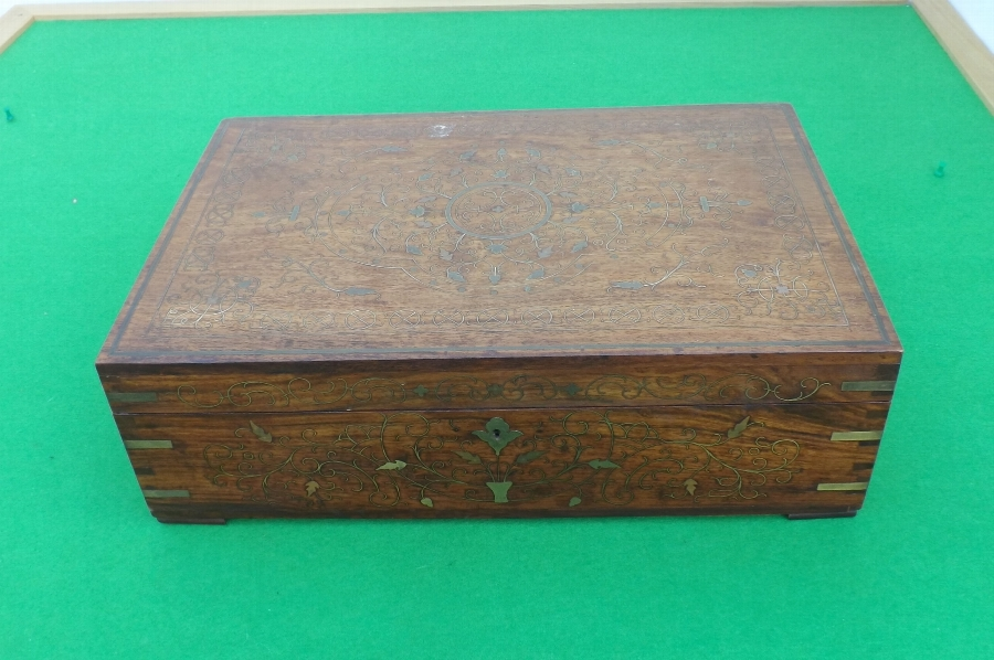 Sewing Box with brass inlay quality vintage item comes with free worldwide post.